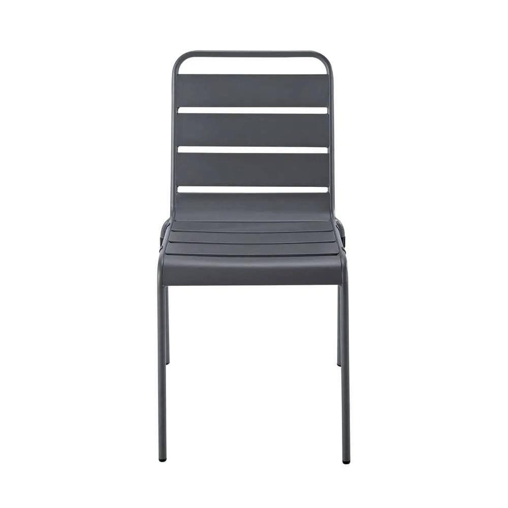 Chaise de jardin en mtal grise Batignolles  Maisons du Monde