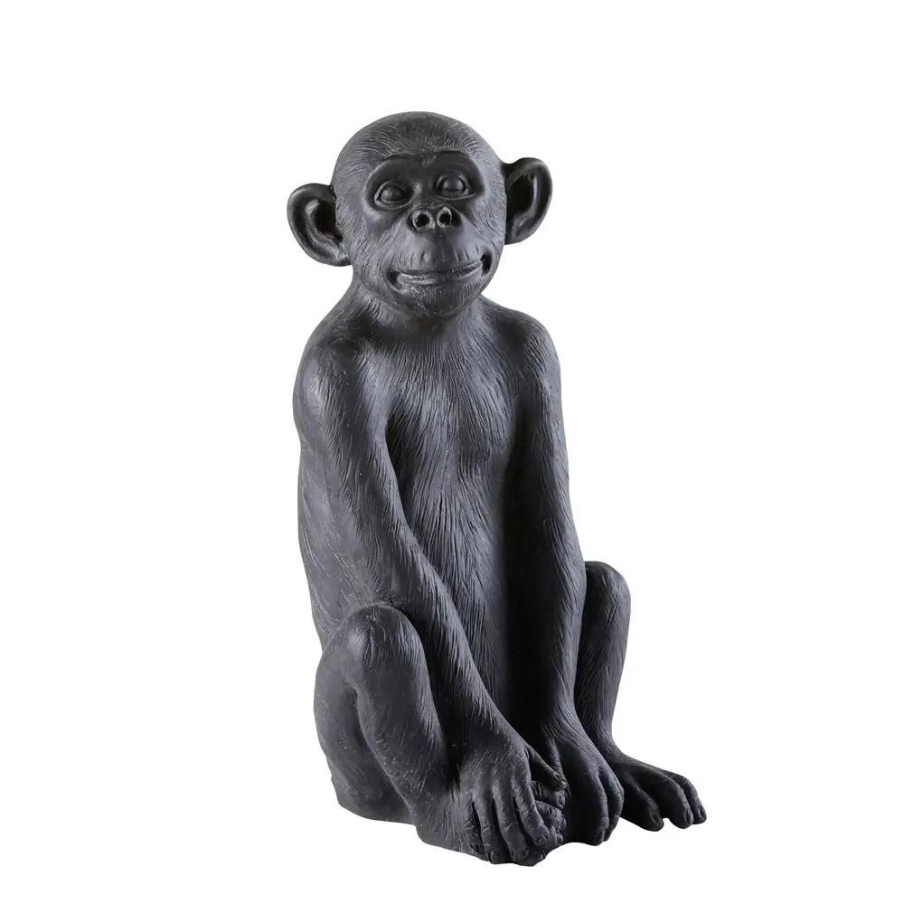 Dco de jardin singe en rsine noire H56 Little Gandhi  Maisons du Monde