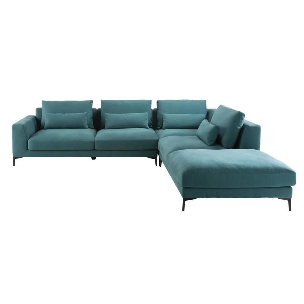 Divano ad angolo destro 6 posti in cotone e lino blu