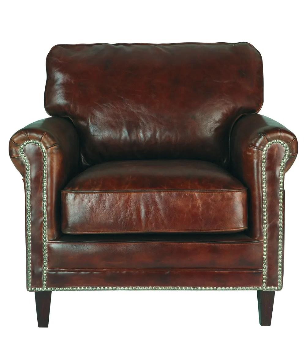 fauteuil en cuir effet vieilli marron sinatra