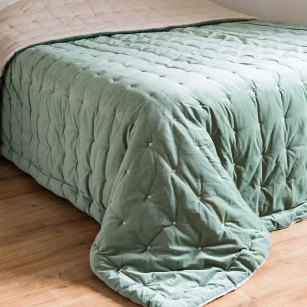 Green Velvet Quilted Bedspread 240x260 Maisons Du Monde