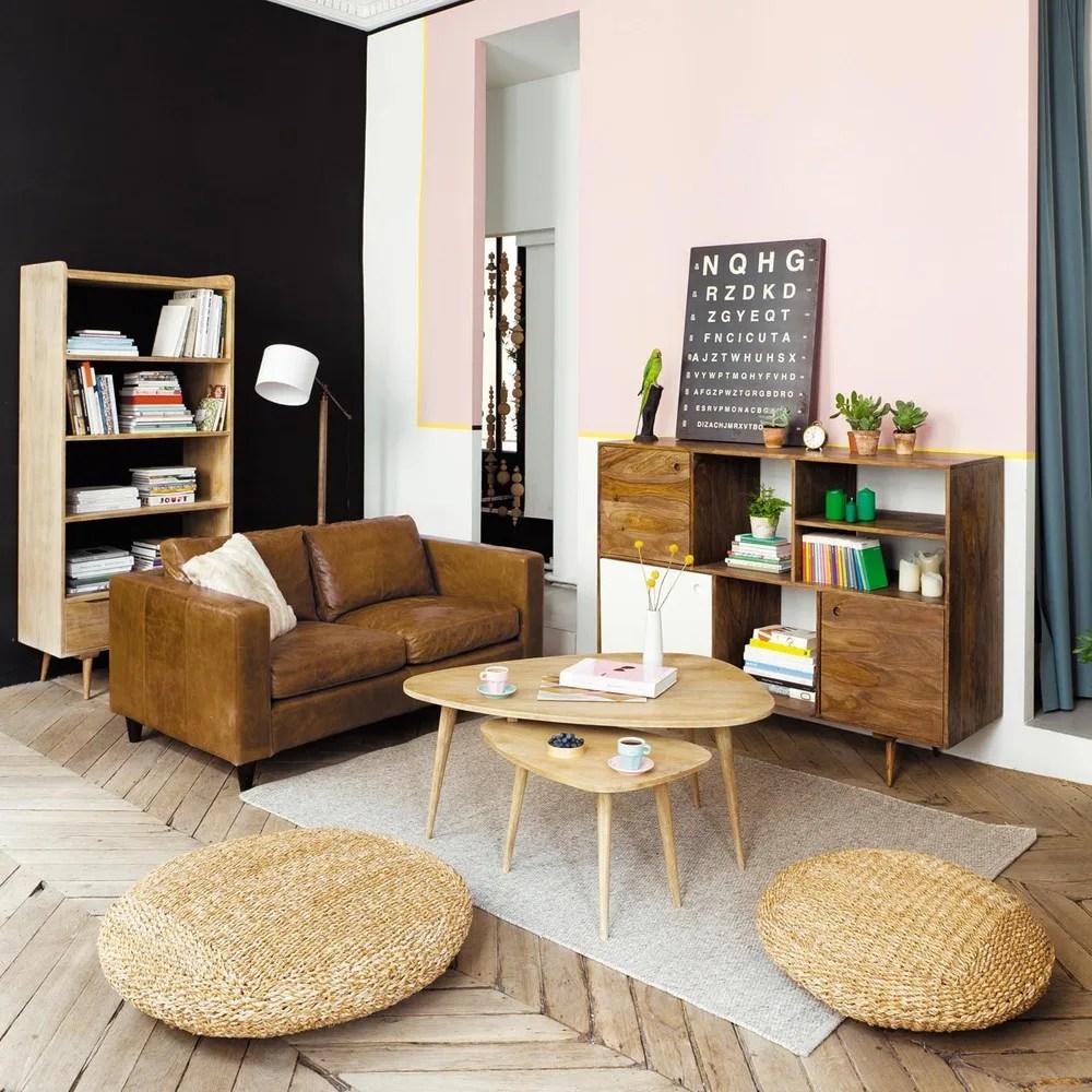 vintage sofa 2 sitzer aus leder camelfarben henry maisons du monde