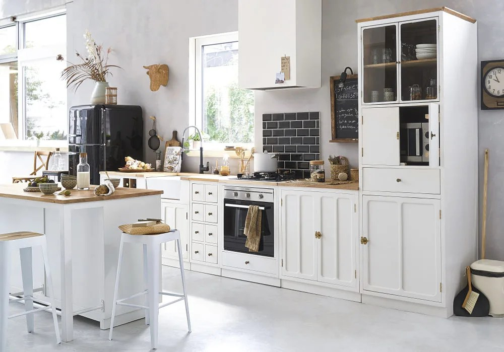 white metal and solid mango wood 4 door kitchen island maisons du monde
