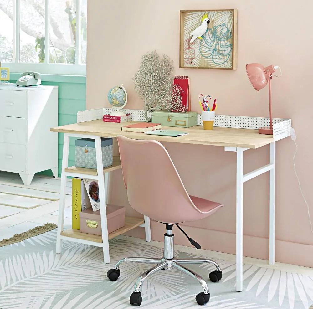 chaise de bureau a roulettes rose maisons du monde