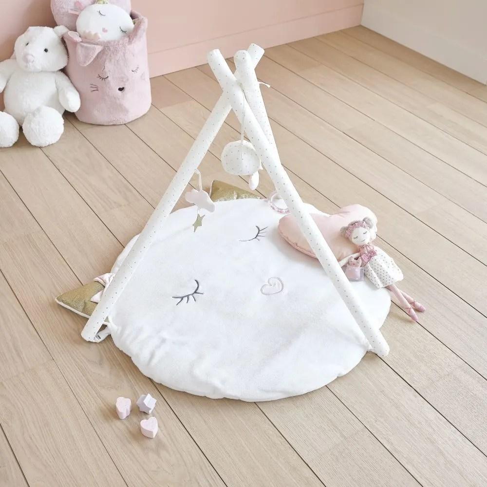 tapis d eveil bebe rond blanc d90 maisons du monde