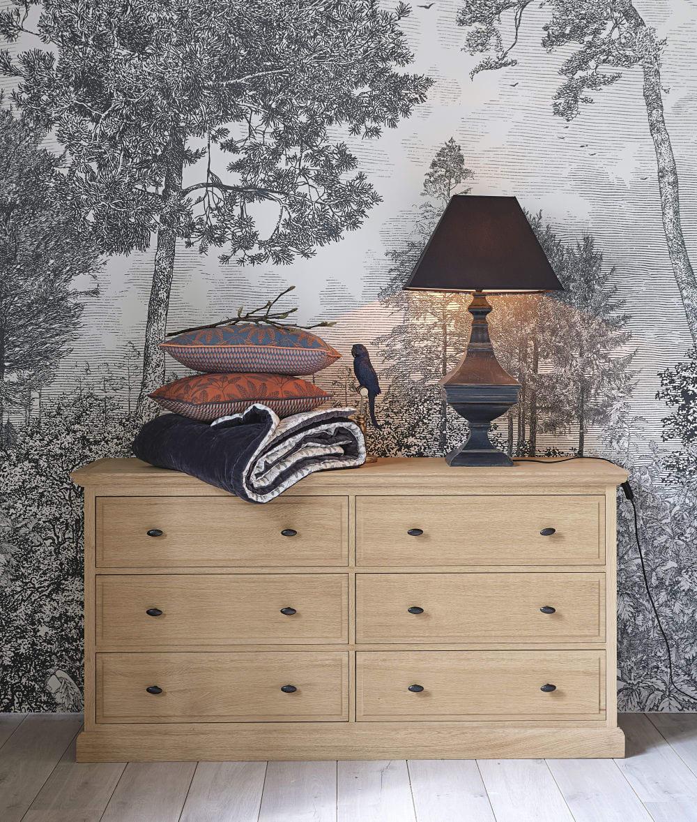 Carta jungle maisons du monde foto. Cuscino In Cotone Blu Motivi Ricamati Arancioni 30x50 Cm Lison Maisons Du Monde