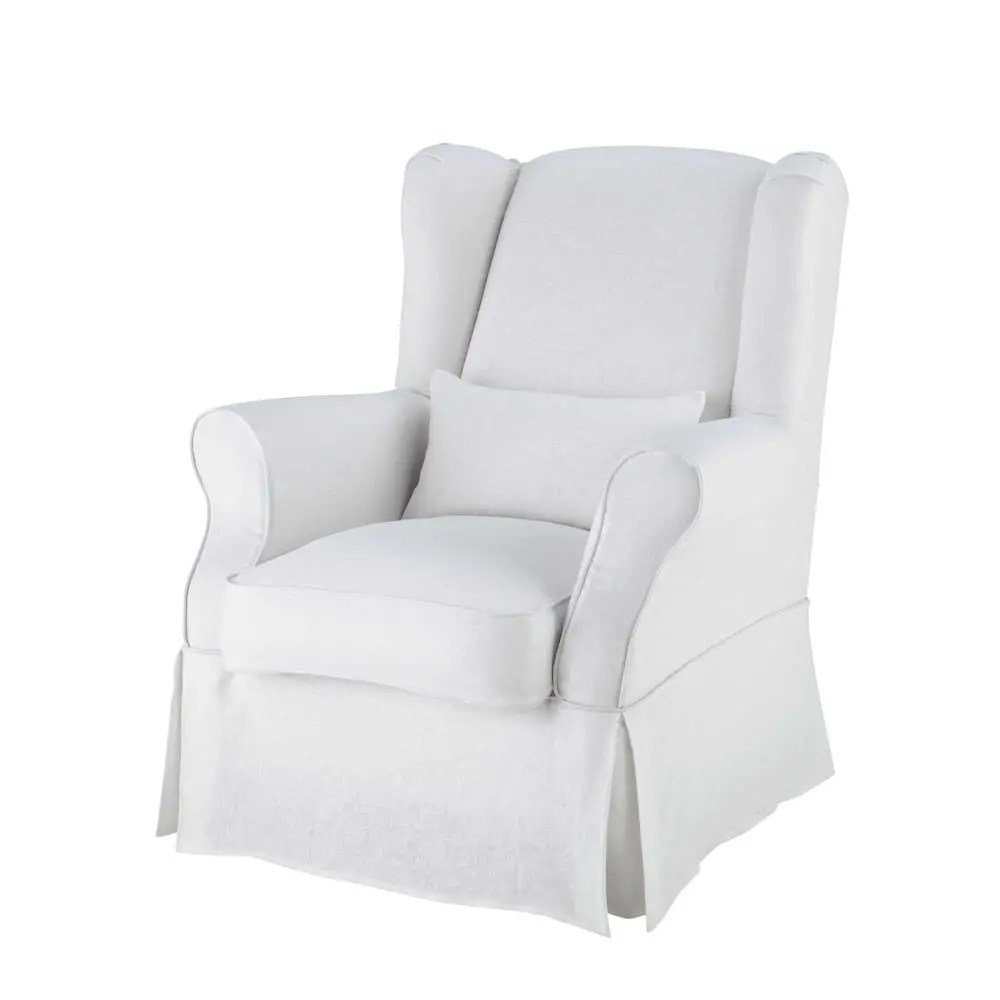 white armchair cover double papasan chair linen in cottage maisons du monde