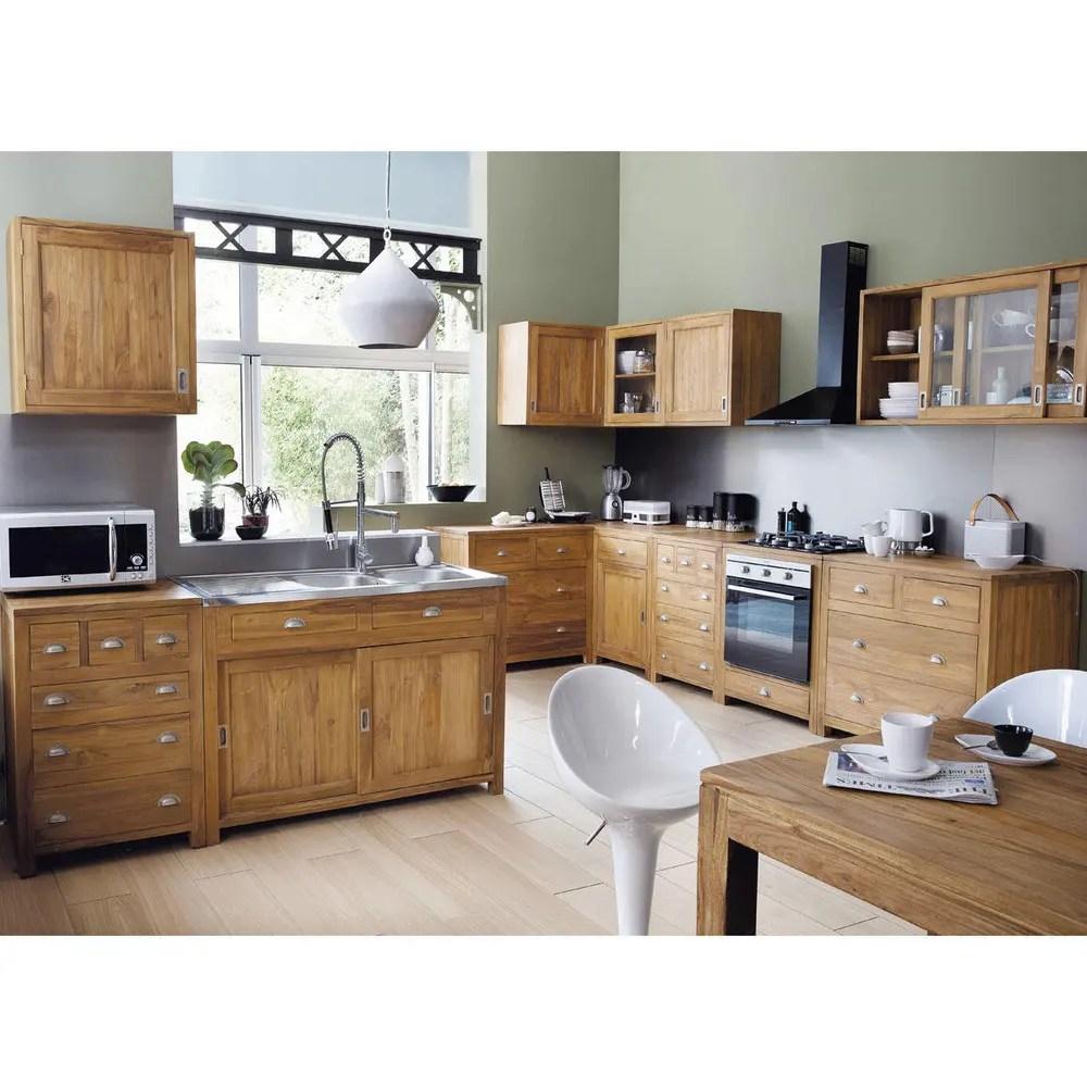 meuble haut de cuisine en teck massif l 120 cm amsterdam