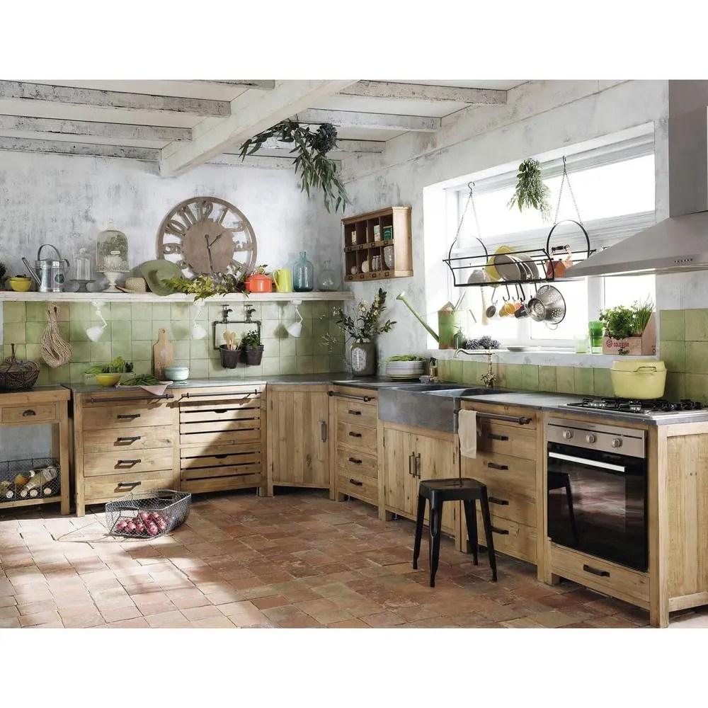 Mobile basso da cucina 4 cassetti in pino riciclato 70 cm Maquis  Maisons du Monde