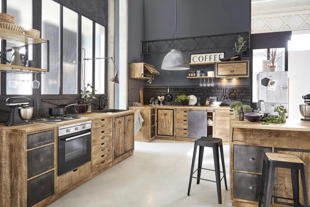 Mobile basso da cucina a 3 cassetti in legno massello di mango e metallo grigio Melchior
