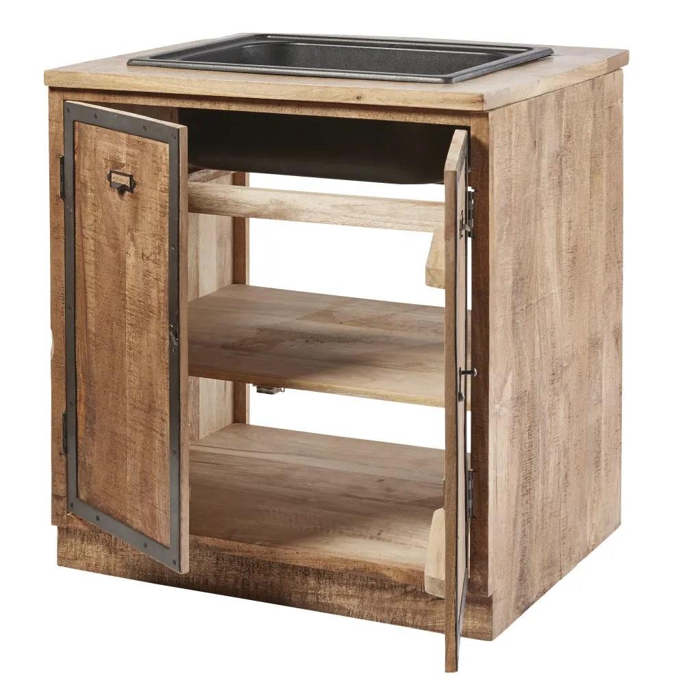Mobile basso da cucina con lavello a 2 ante in legno massello di mango Melchior  Maisons du Monde