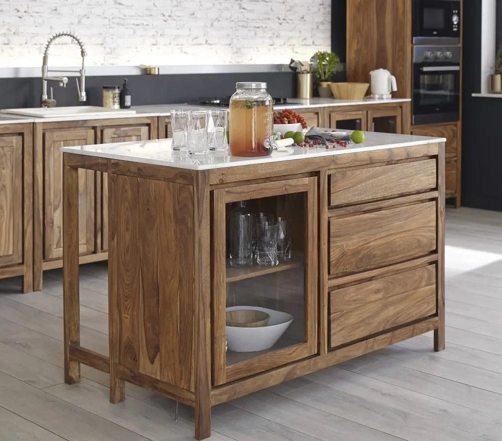 Mobile basso da cucina con lavello in legno massello di sheesham e marmo Stockholm  Maisons du
