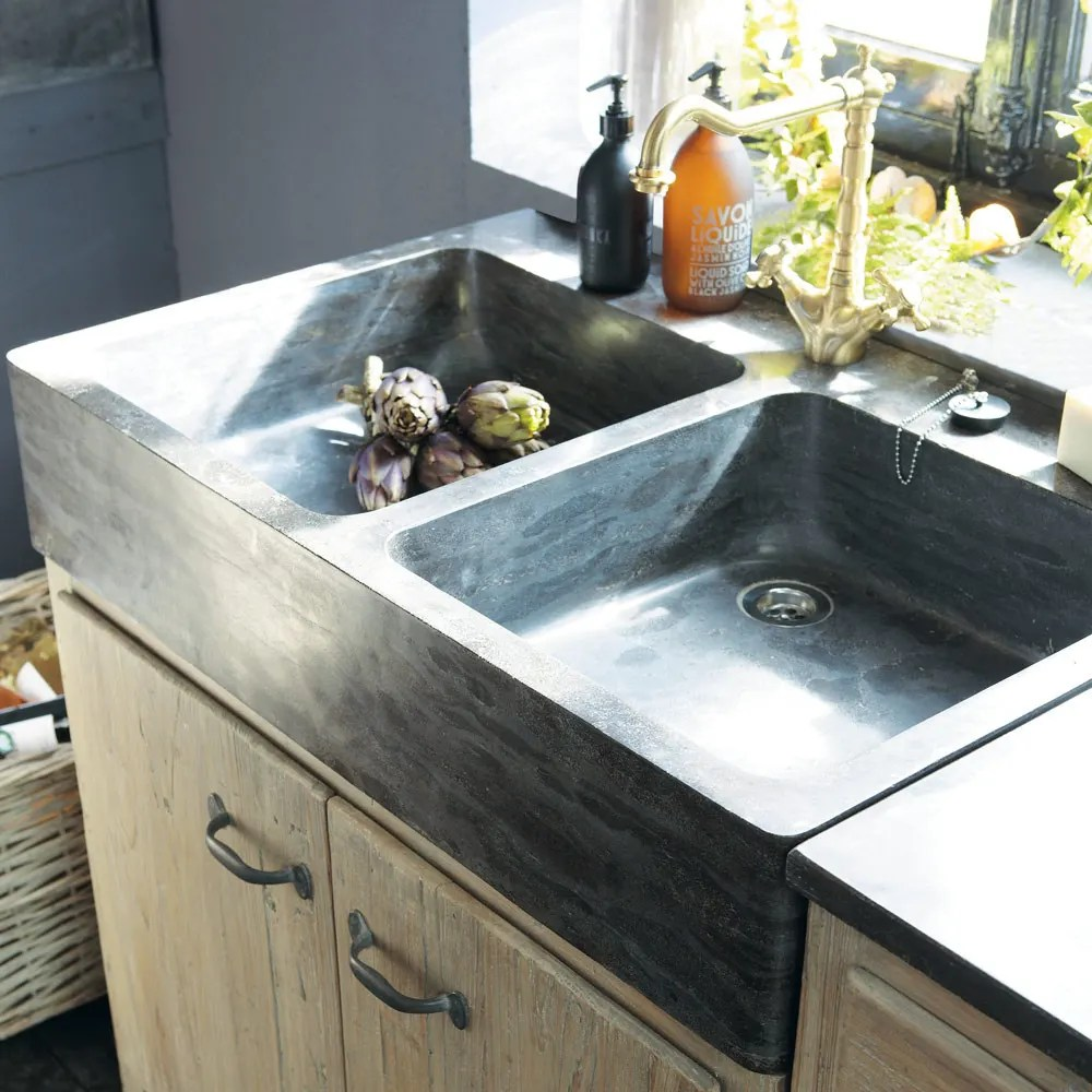 Mobile basso da cucina in pino riciclato con lavello Copenhague  Maisons du Monde