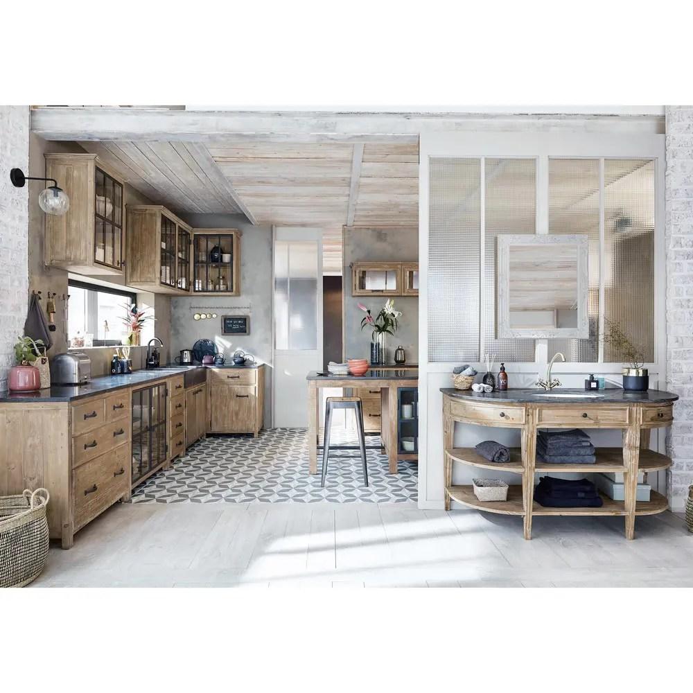 Mobile basso da cucina in pino riciclato L 89 Copenhague  Maisons du Monde
