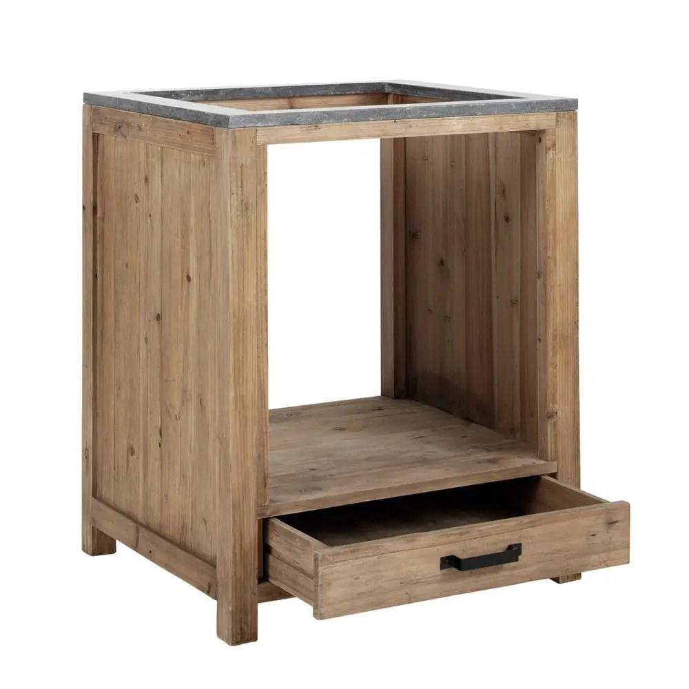 Mobile basso da cucina in pino riciclato per forno 70 cm Maquis  Maisons du Monde