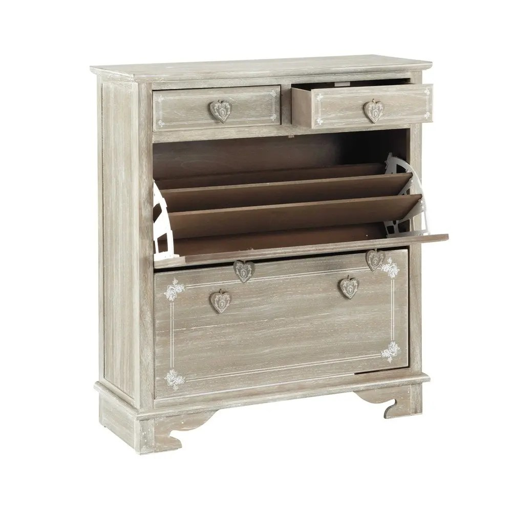 Mueble zapatero de madera de paulonia An 90 cm Camille