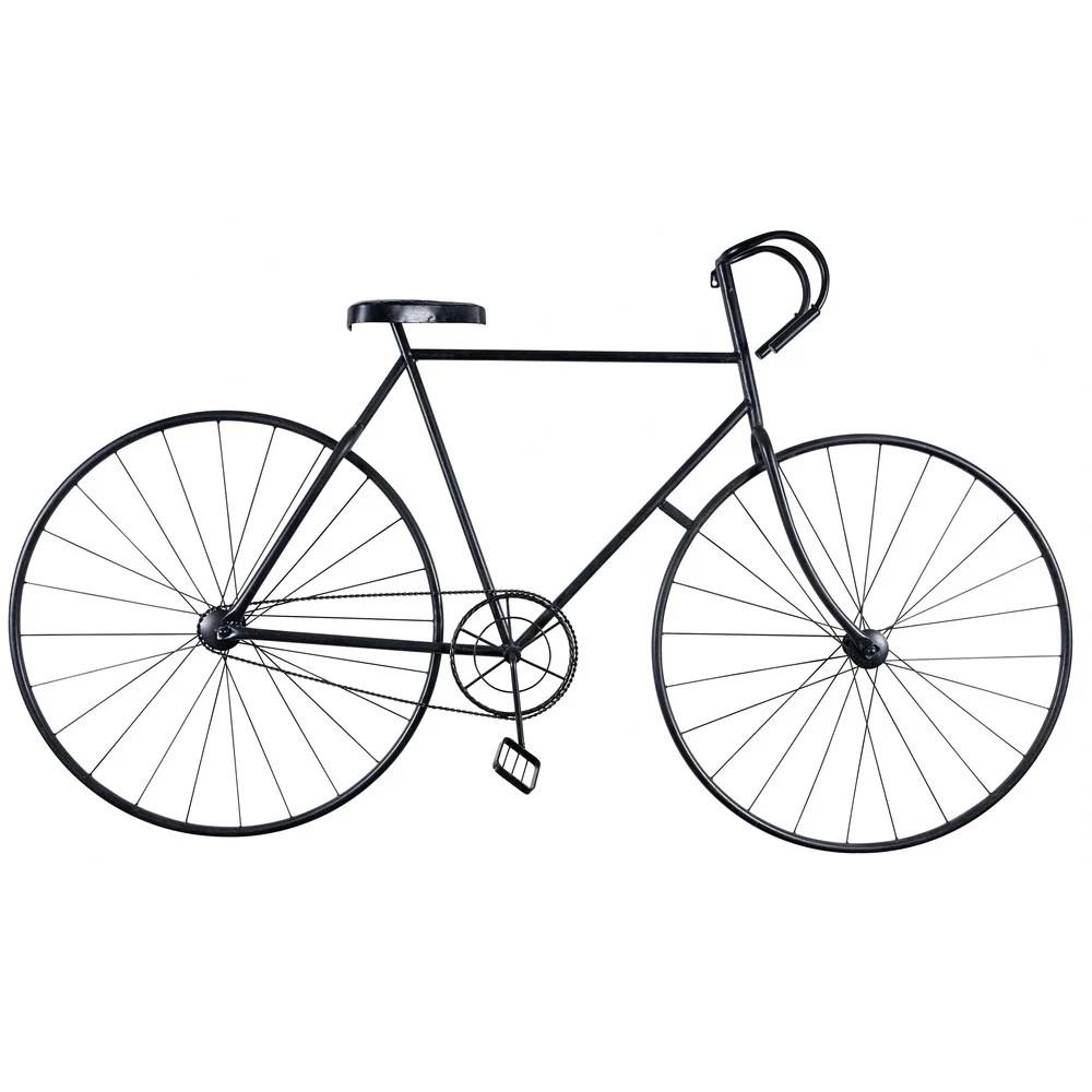 Muurdecoratie fiets van zwart metaal 186x108 Urban Fixie