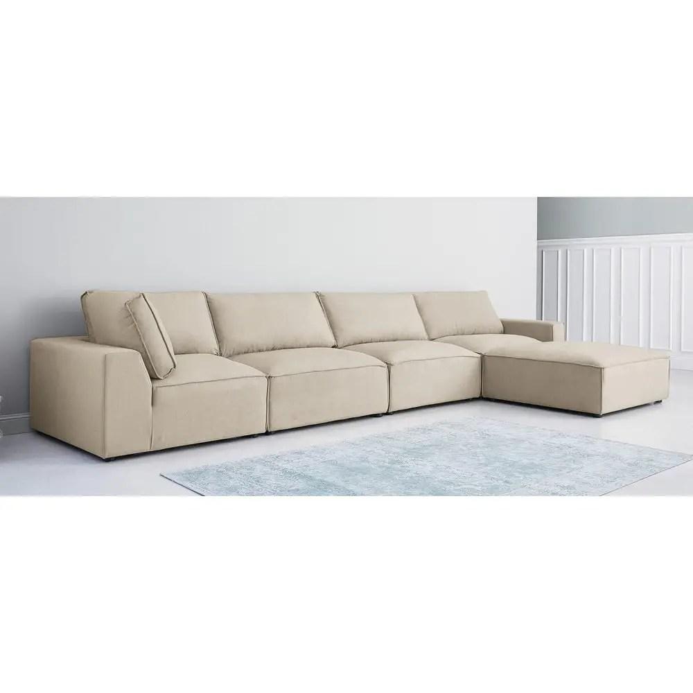 Pouf per divano beige modulabile in tessuto Malo  Maisons