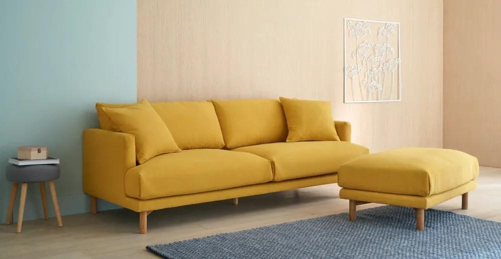 Pouf per divano componibile in cotone e lino giallo senape Raoul  Maisons du Monde