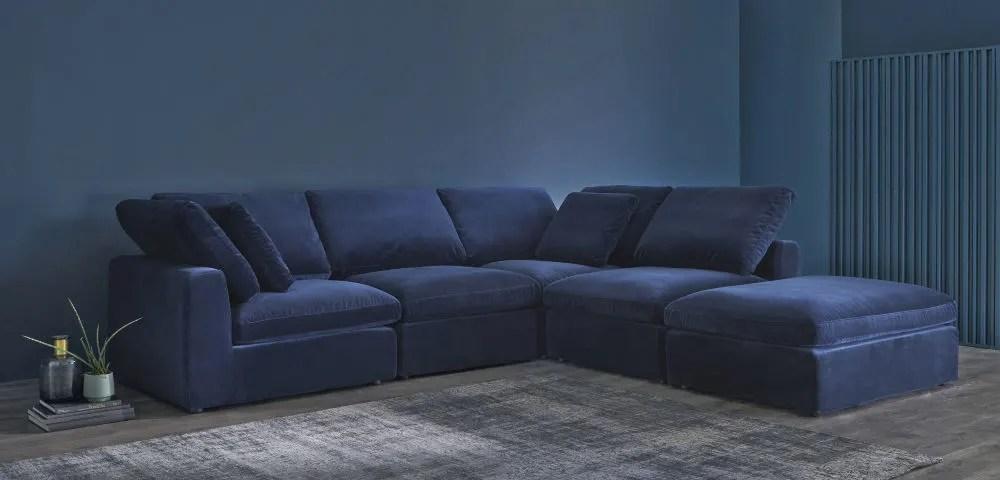 Pouf per divano componibile in velluto blu notte Midnight  Maisons du Monde