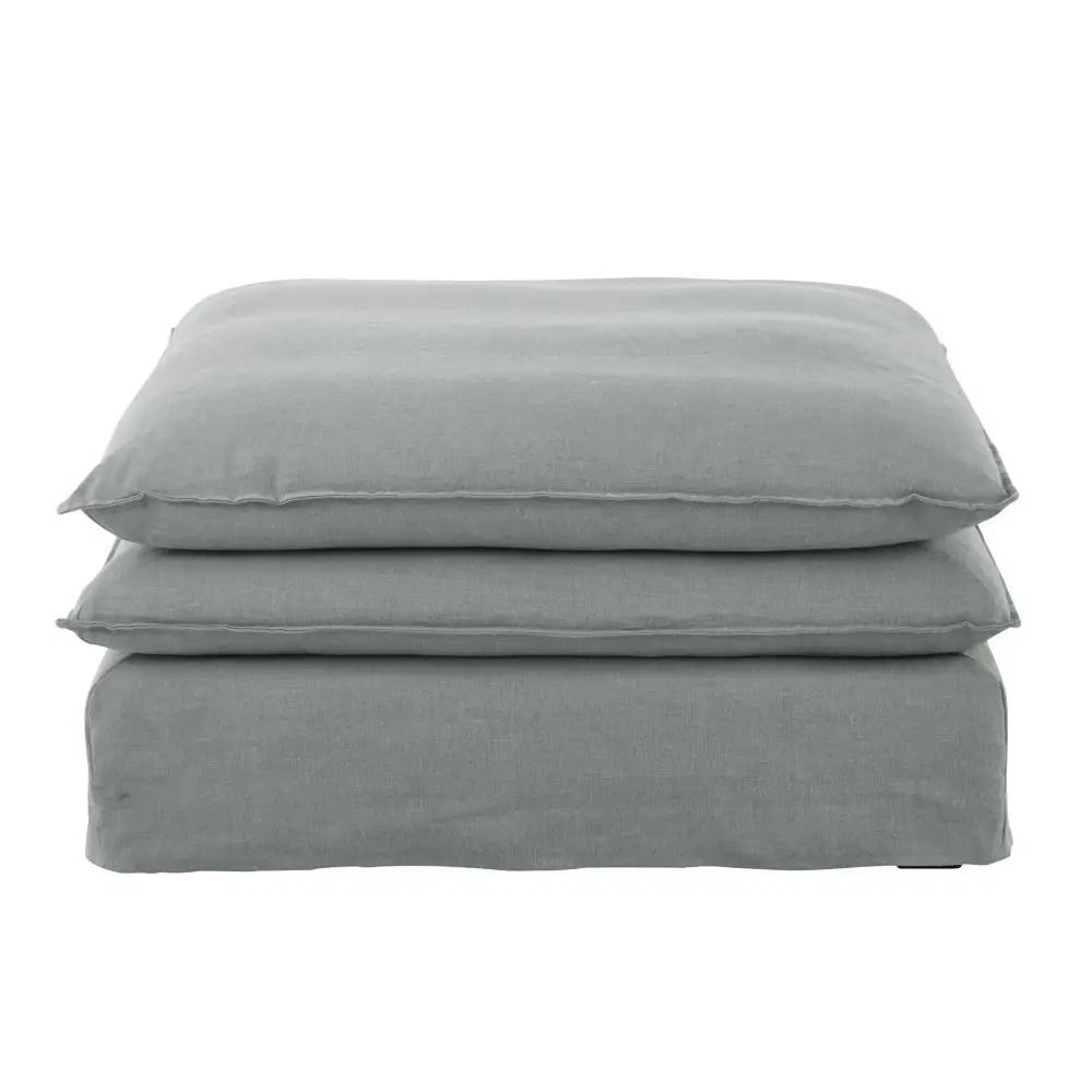 Pouf per divano grigio chiaro in lino Pompei  Maisons du Monde
