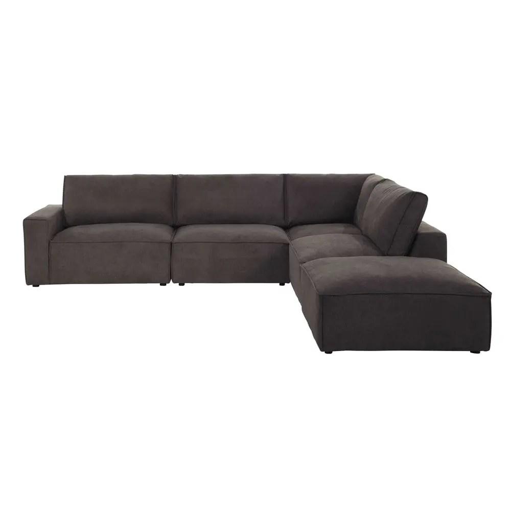 Pouf per divano grigio talpa modulabile in tessuto Malo  Maisons du Monde