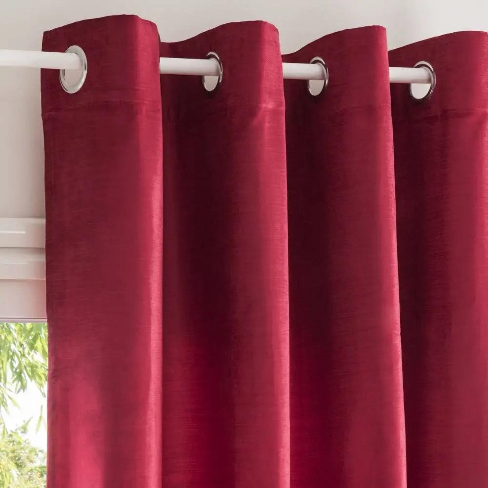 Rideaux Velours Rouge Ensemble Velours Rouge Et Blanc En Soie De