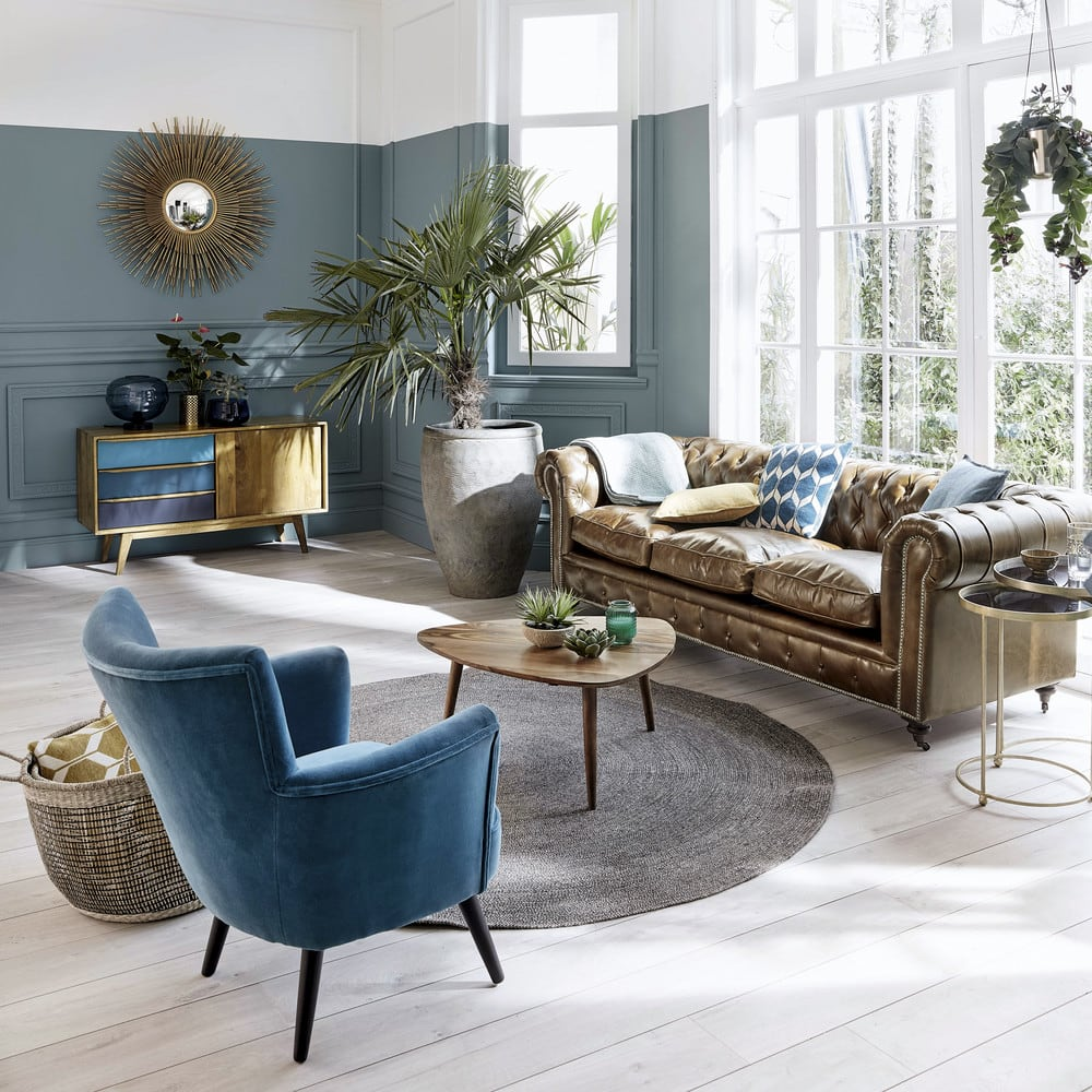 retro living room coffee table ideas grey and black solid sheesham wood vintage andersen maisons du monde shop this look