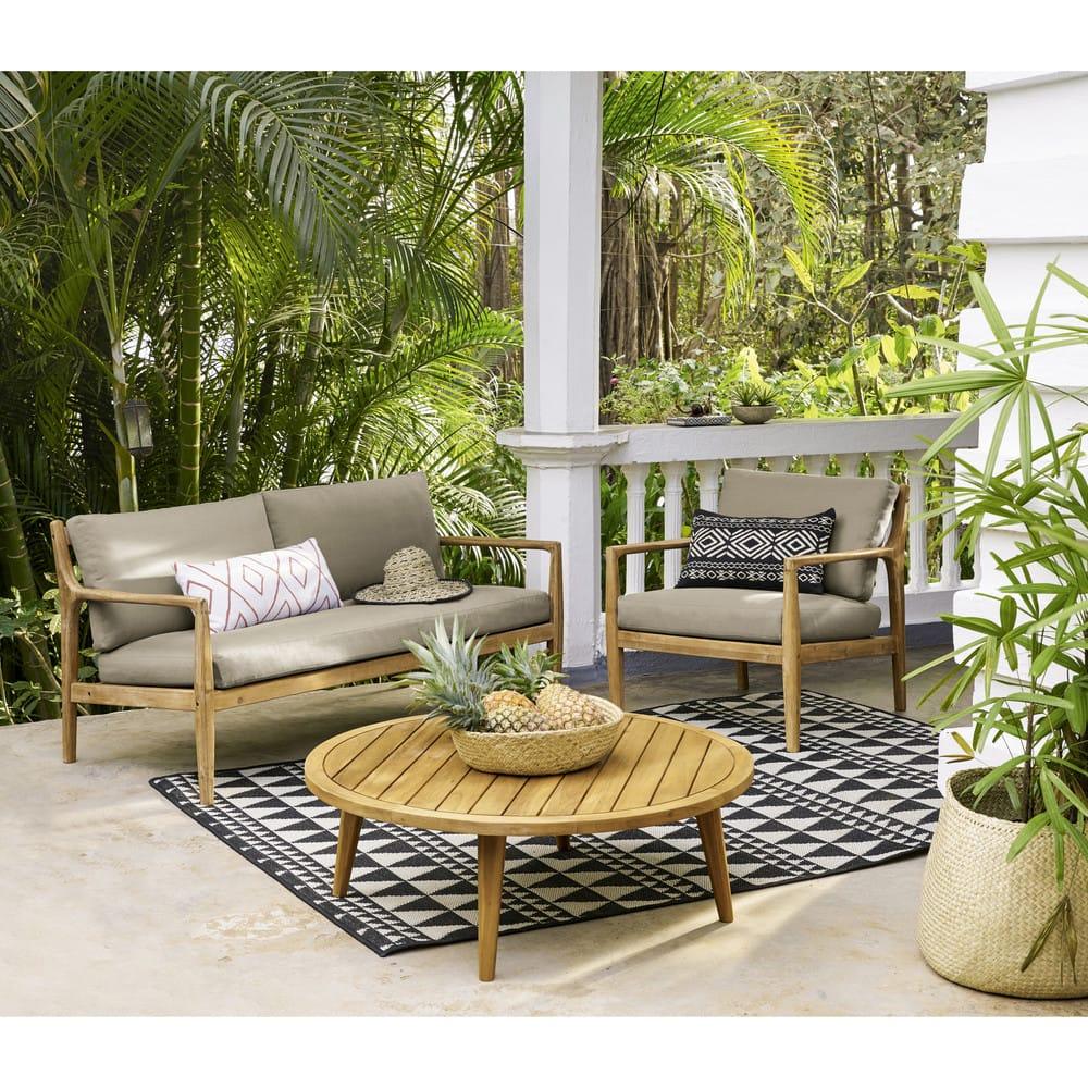 Table basse de jardin ronde en acacia massif Noumea  Maisons du Monde