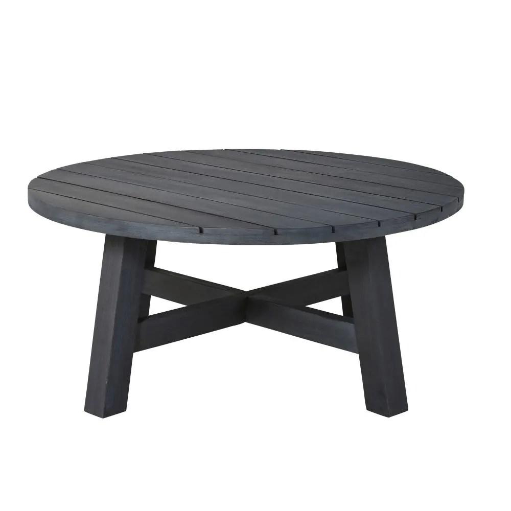 Table basse de jardin ronde en acacia massif noir Perissa  Maisons du Monde