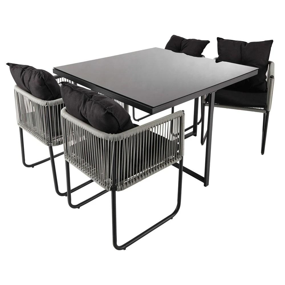 Table de jardin avec 4 chaises en rsine L 107 Swann
