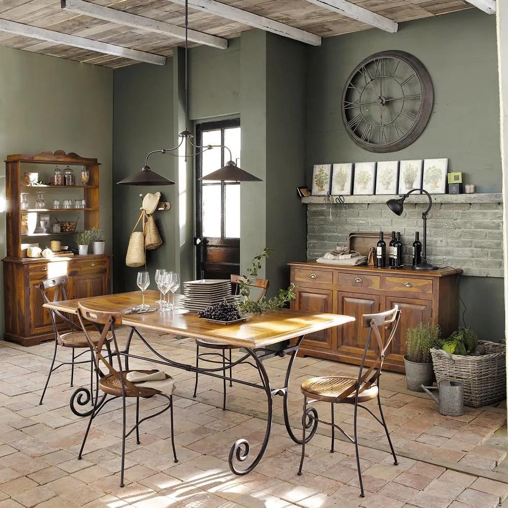Tavolo per sala da pranzo in massello di legno di sheesham e ferro battuto L 180 cm Lubron