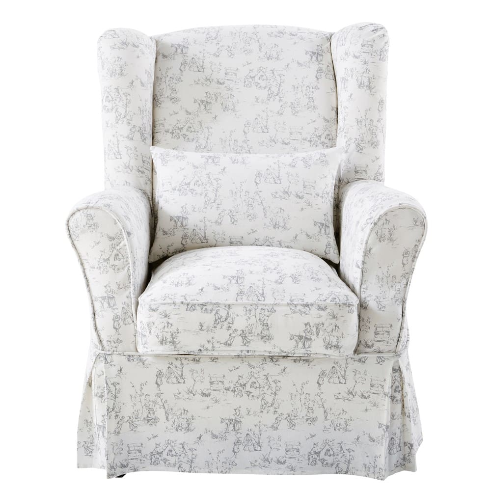 white armchair cover chinese wedding chair cotton with toile de jouy print 80x98 maisons