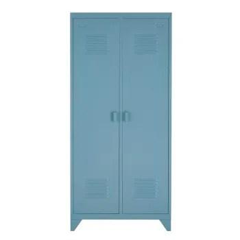 dressing 2 portes en metal bleu gris maisons du monde