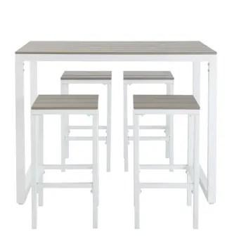 table de jardin haute avec 4 tabourets en aluminium l128 maisons du monde