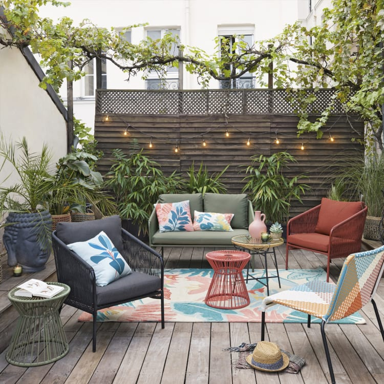 Poltrona da giardino in resina effetto rattan e tela grigio antracite darwyn su maisons du monde. Collezione Giardino 2021 Maisons Du Monde