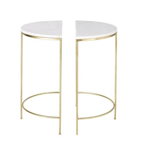 2 tables de chevet en metal dore et marbre blanc maisons du monde
