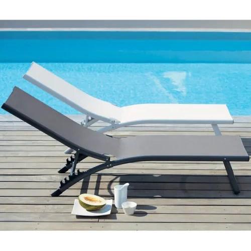 bain de soleil en aluminium blanc maisons du monde