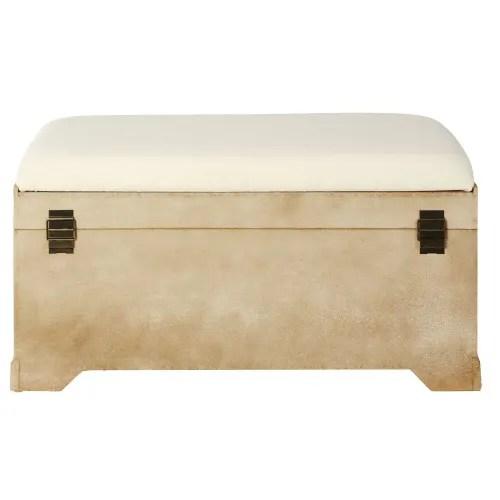 banc avec coffre de rangement en sapin et coton maisons du monde