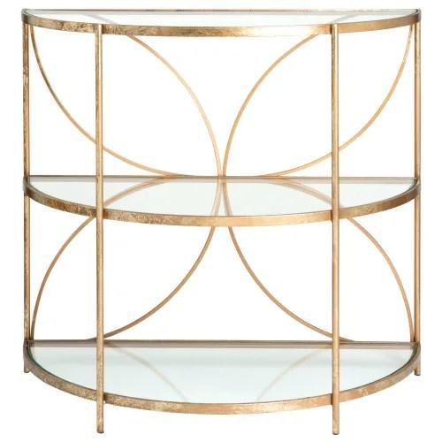 beistelltisch halbmondformig aus goldenem metall und glas maisons du monde