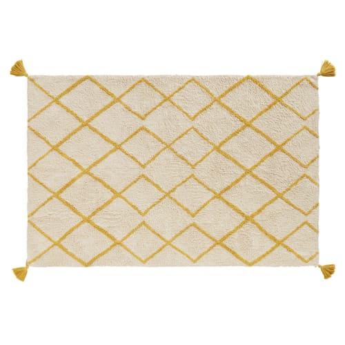 berberteppich aus baumwolle naturweiss mit grafischen motiven in senfgelb 120x180 maisons du monde