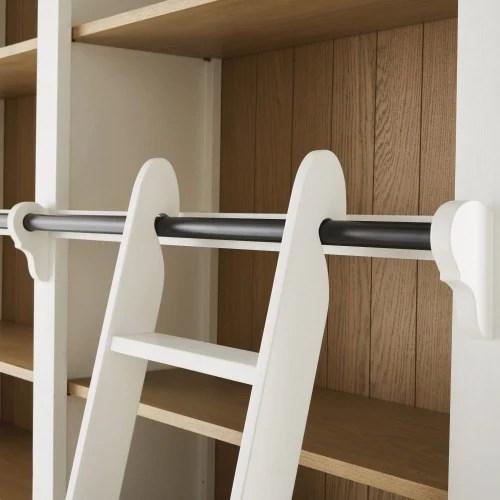 bibliotheque 2 tiroirs 4 portes avec echelle blanche maisons du monde
