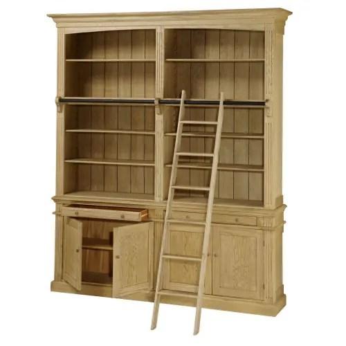 bibliotheque 2 tiroirs 4 portes avec echelle en chene maisons du monde