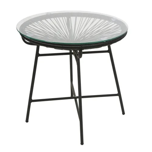 black resin and glass garden coffee table maisons du monde