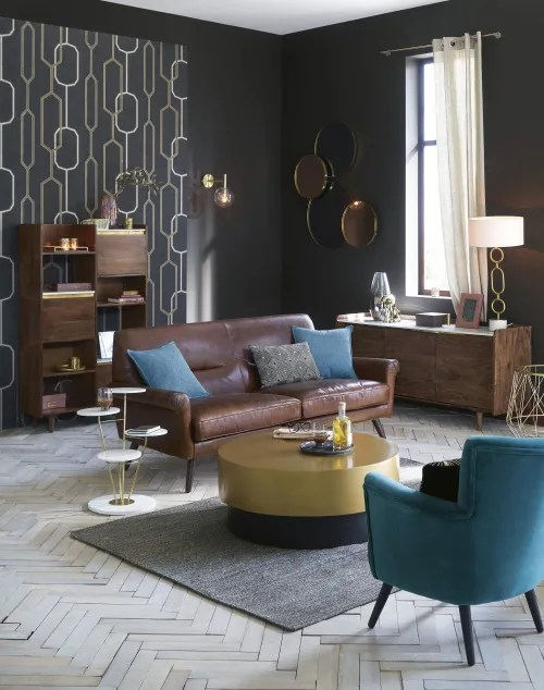 Dai un'occhiata ai nostri mobili e oggetti decorativi e fai i pieno di. Brown And Gold Metal Round Coffee Table Moka Maisons Du Monde