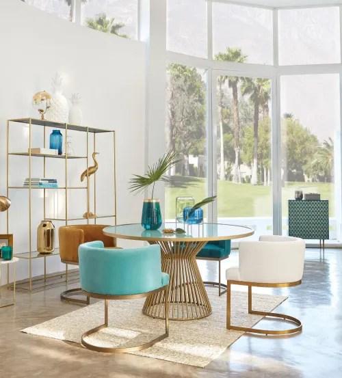 buffet 2 portes bleu turquoise motifs graphiques dores maisons du monde