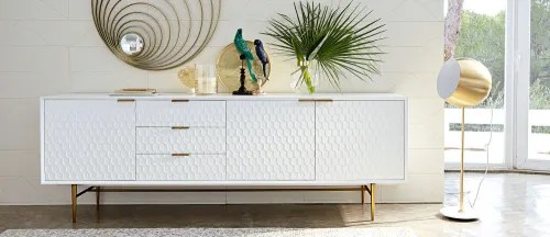 buffet enfilade vintage 3 portes 3 tiroirs blanc maisons du monde