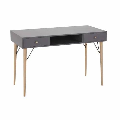 bureau vintage 2 tiroirs gris anthracite maisons du monde