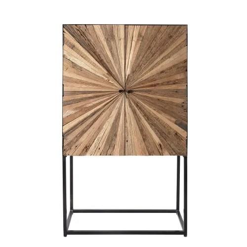 cabinet de rangement 2 portes en bois recycle et metal maisons du monde