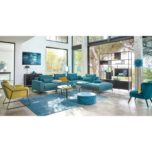 canape d angle droit 6 places en coton et lin bleu canard maisons du monde